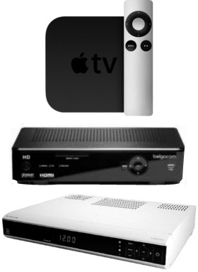 Apple TV, Telenet Digibox en Belgacom TV