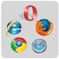 Pictogrammen Opera, Firefox, Internet Explorer, Chrome, Safari