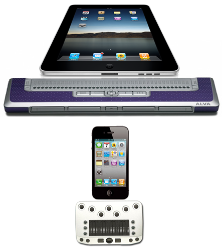 Collage met iOS braille opstellingen met Ipad en Iphone
