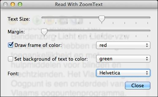 Readwithzoomtext vergrotingsinstellingen screenshot