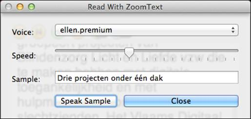 Readwithzoomtext spraakinstellingen screenshot